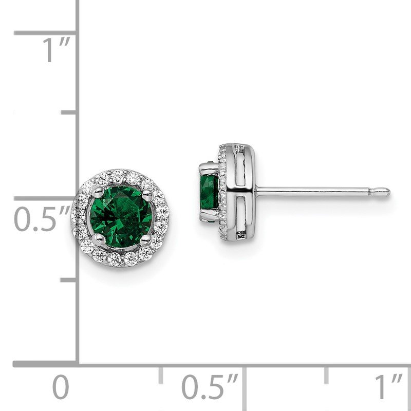 Quality Gold Sterling Silver Brilliant Embers Rhodium-plated White and Green CZ Earrings