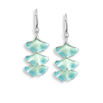 Turquoise Ginkgo 3-Leaf Wire Earrings.Sterling Silver