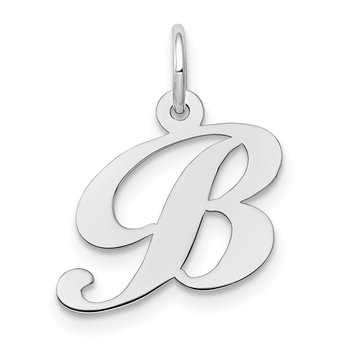14k White Gold Small Fancy Script Letter B Initial Charm