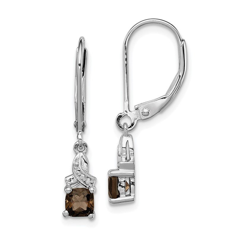 Quality Gold Sterling Silver Rhodium-plated Smoky Quartz Diamond Earrings