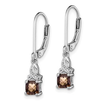Sterling Silver Rhodium-plated Smoky Quartz Diamond Earrings