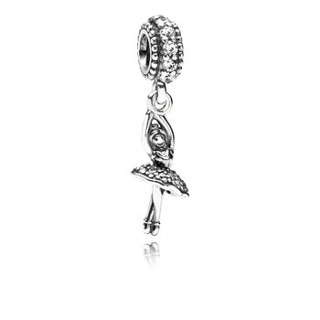 Ballerina Dangle Charm, Clear Cz