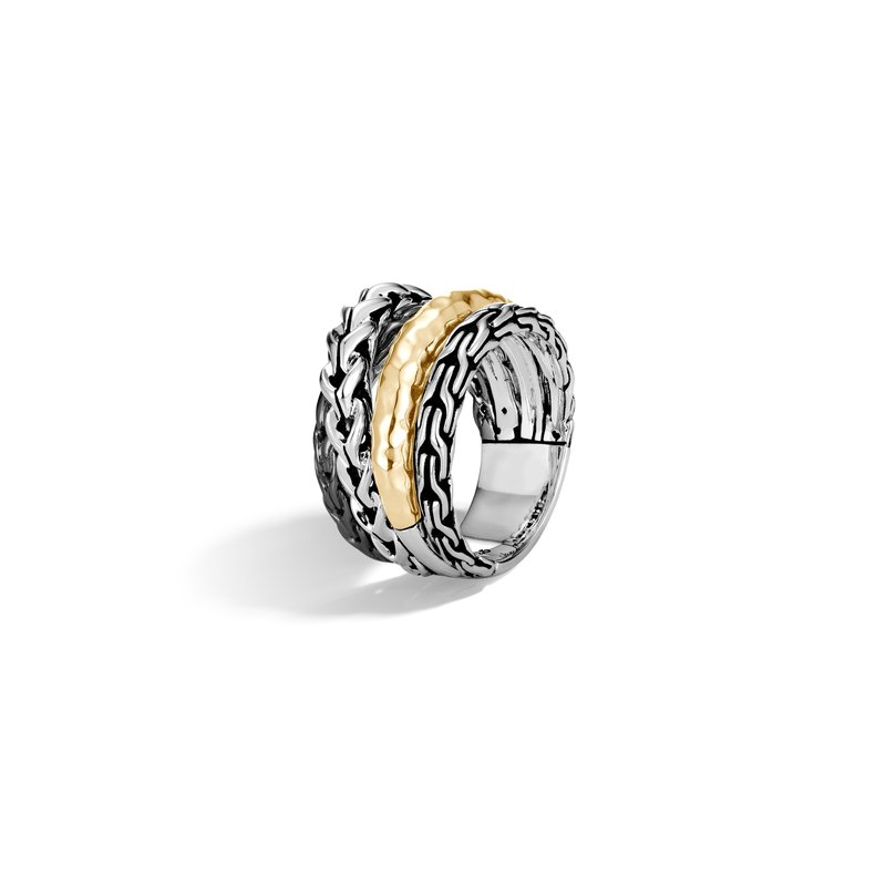 JOHN HARDY Asli Classic Chain Link Ring in Silver and Hammered 18K Gold