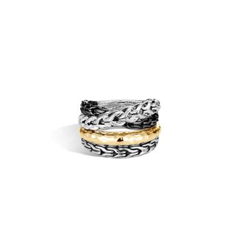 Asli Classic Chain Link Ring in Silver and Hammered 18K Gold