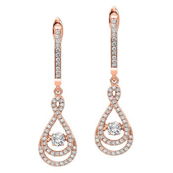 14KP Diamond Rhythm Of Love Earrings 1/2 ctw