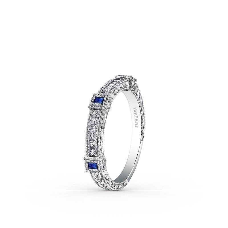Blue Sapphire Milgrain Diamond Wedding Band