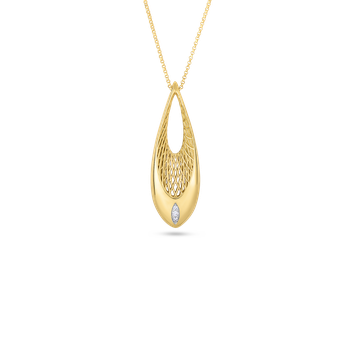 18Kt Gold Drop Pendant With Diamonds