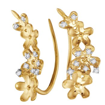 10kt Yellow Gold Womens Round Diamond Floral Climber Earrings 1/10 Cttw