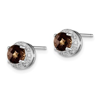 Sterling Silver Rhodium-plated Diamond Smoky Quartz Earrings