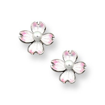Small White Dogwood Stud Earrings.Sterling Silver-Akoya Pearls