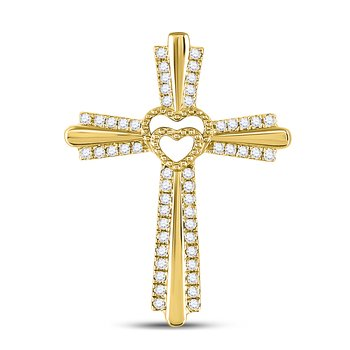 10kt Yellow Gold Womens Round Diamond Cross Heart Pendant 1/4 Cttw