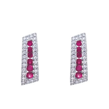14k White Gold Ruby and Diamond Euro Back Earring