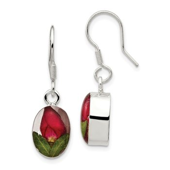 Sterling Silver Shrieking Violet Real Rose Bud Dangle Earrings