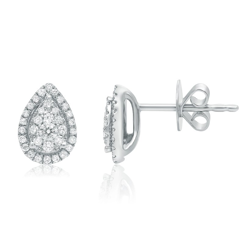 Roman & Jules White Diamond Pear-shaped Earrings