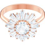 Swarovski Sunshine Ring, White, Rose-gold tone plated