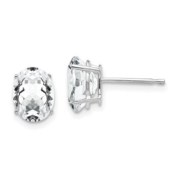 14k White Gold 8x6mm Oval Cubic Zirconia Earrings