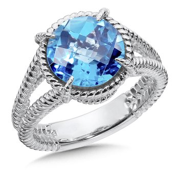 Sterling Silver Blue Topaz Split Shank Ring