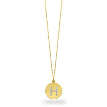 "Diamond Disc Initial ""H"" Necklace in 14k Yellow Gold with 15 Diamonds weighing .07ct tw."