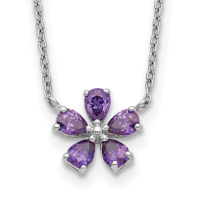Quality Gold Sterling Silver Purple CZ Flower Necklace