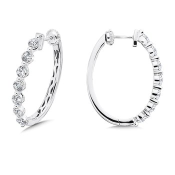 Locking Diamond Hoops in 14K White Gold with Platinum Post