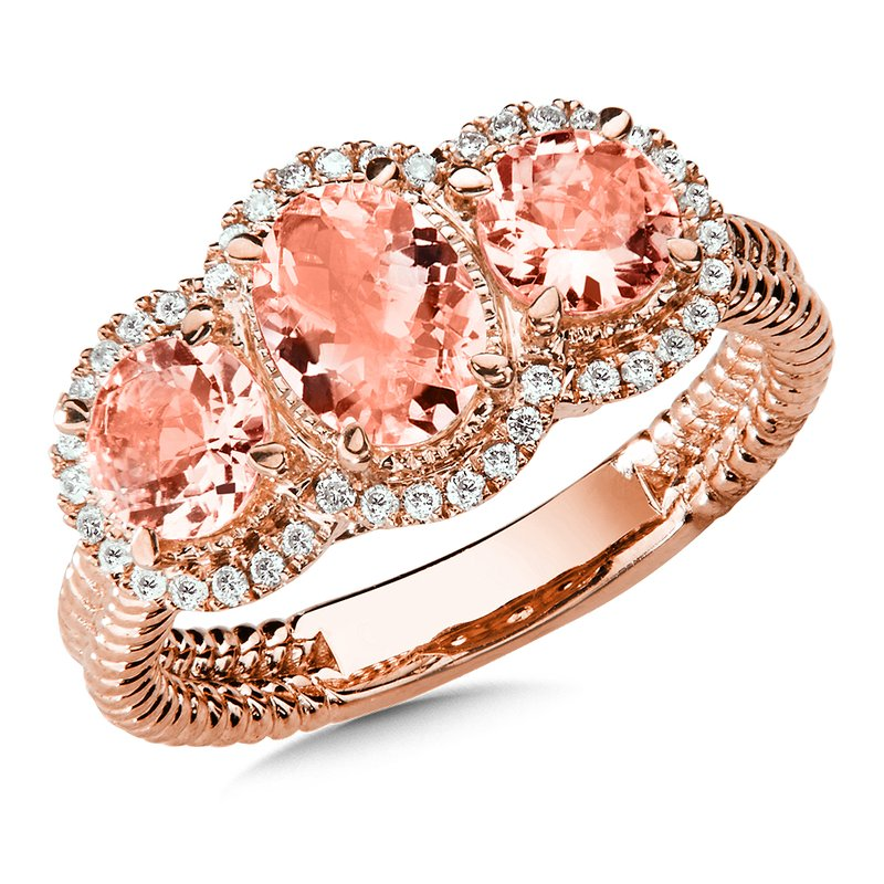 Colore Sg Morganite and Diamond Ring in 14K Rose Gold