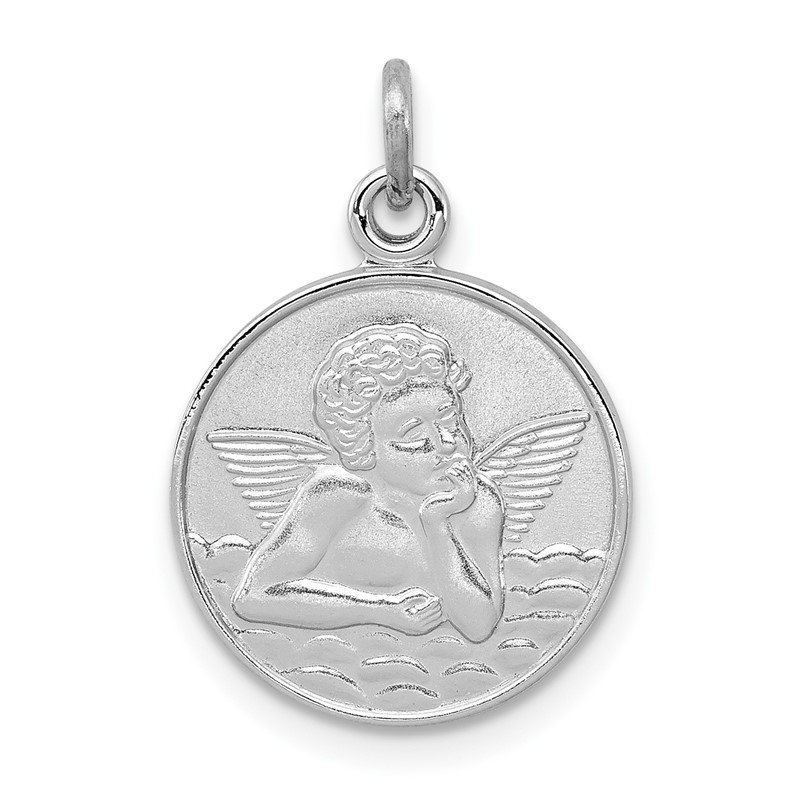 Quality Gold Sterling Silver Rhodium-plated/Plain Back Angel Medal