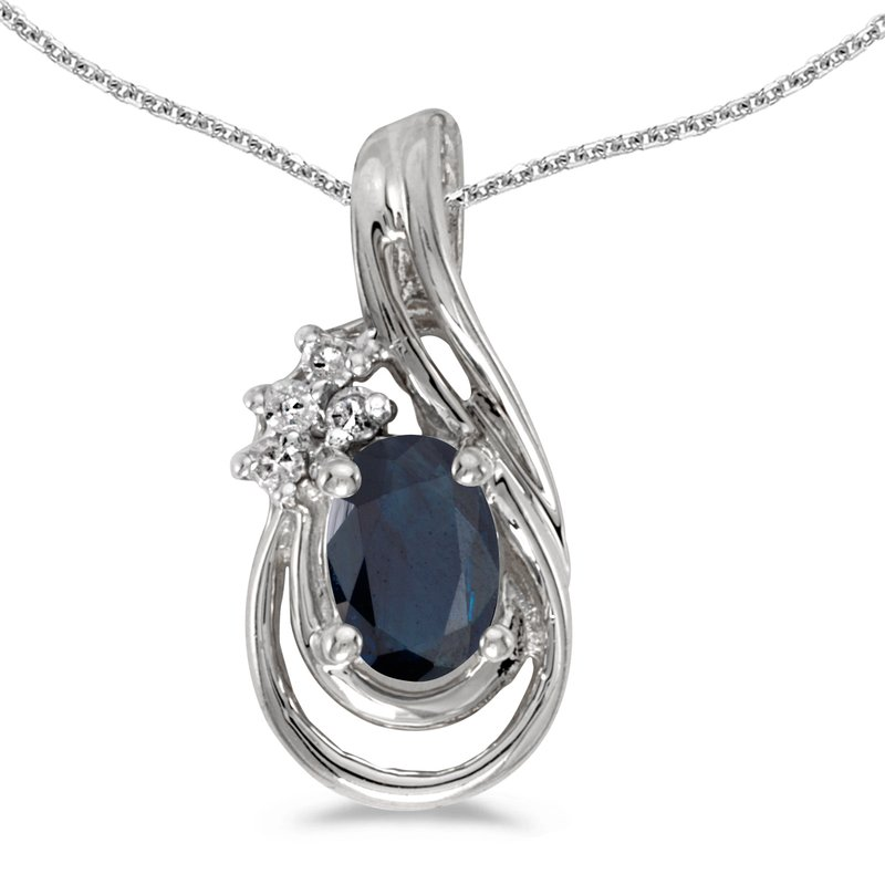 Color Merchants 14k White Gold Oval Sapphire And Diamond Teardrop Pendant