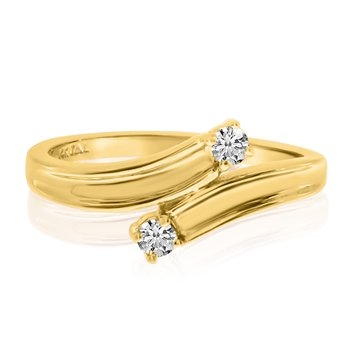14K Yellow Gold Two-Stone Bypass Diamond Ring