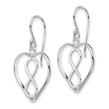 Sterling Silver Open Heart with Infinity Symbol Dangle Earrings