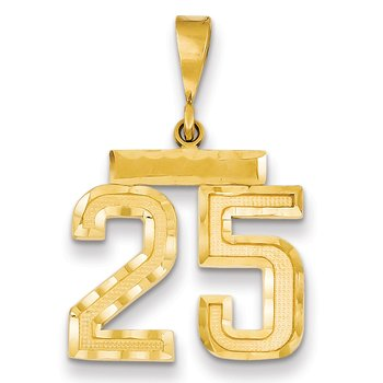 14k Medium Diamond-cut Number 25 Charm