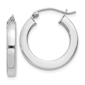 Sterling Silver Rhodium-plated 3x20mm Square Tube Hoop Earrings