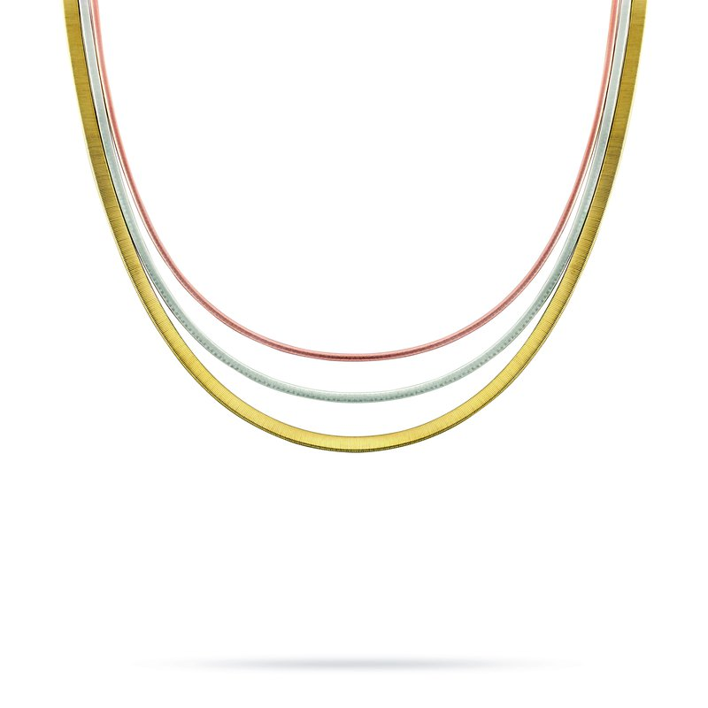 Marco Bicego Masai Three Strand Wide Necklace In Yellow, White, & Rose Gold