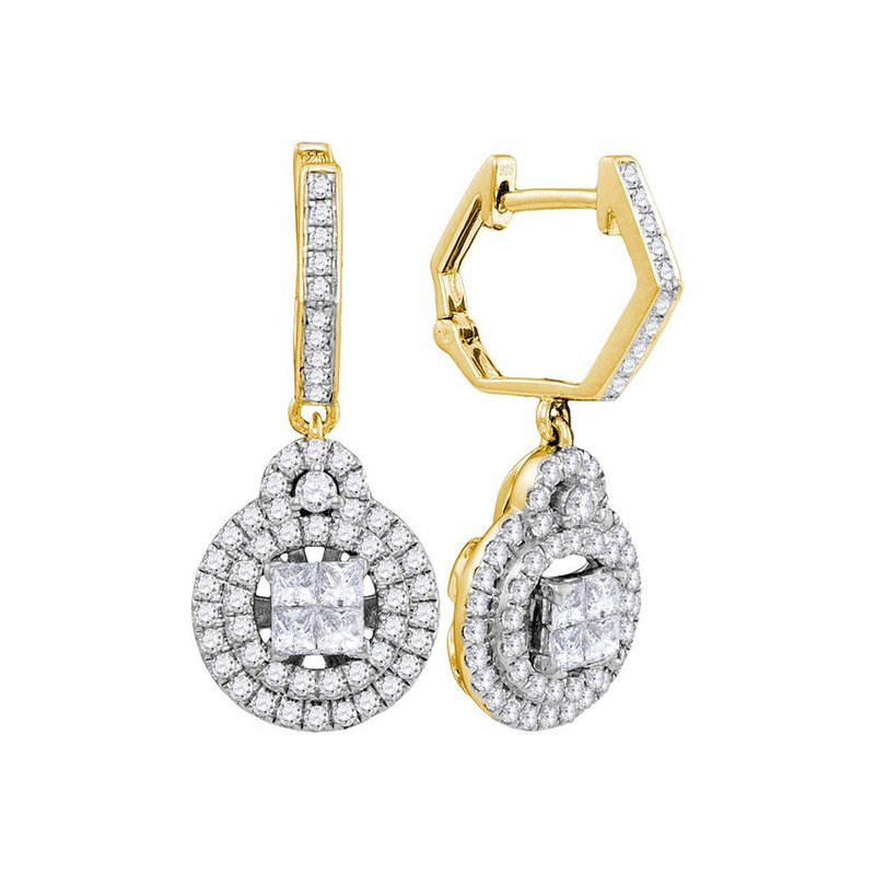 Kingdom Treasures 14kt Yellow Gold Womens Princess Diamond Double Circle Frame Dangle Earrings 1.00 Cttw