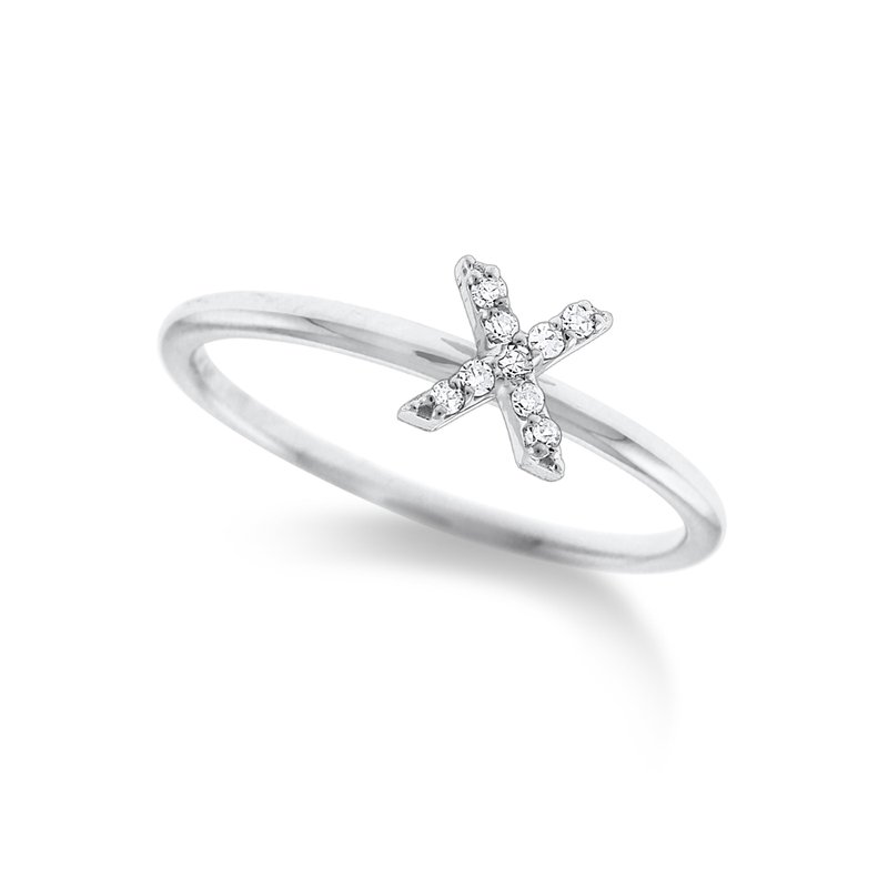 "KC Designs Diamond Typewriter Initial ""X"" Ring"