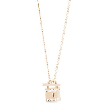 316L stainless steel with padlock pendant, rose gold PVD and Swarovski® Elements crystals.