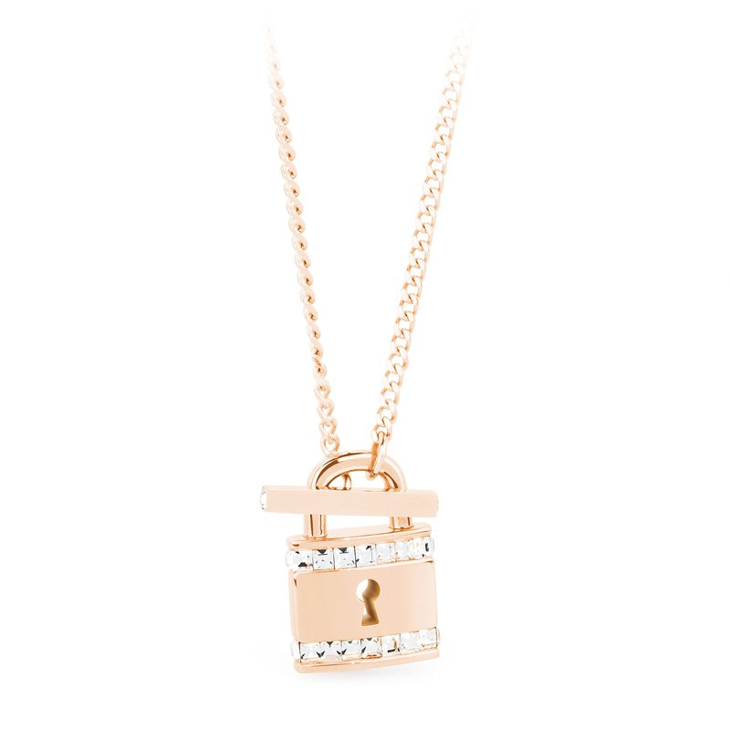 Brosway 316L stainless steel with padlock pendant, rose gold PVD and Swarovski® Elements crystals.