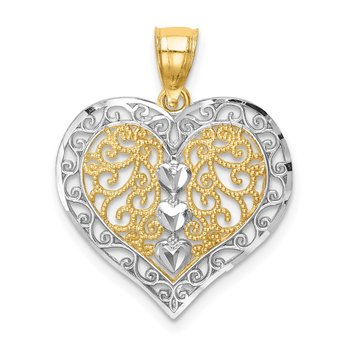 14K w/Rhodium D/C Filigree Heart Pendant