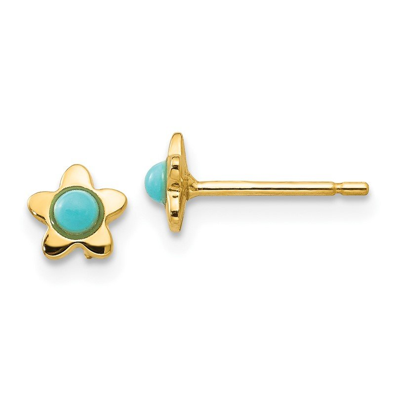 Quality Gold 14k Polished Turquoise Star Post Earrings