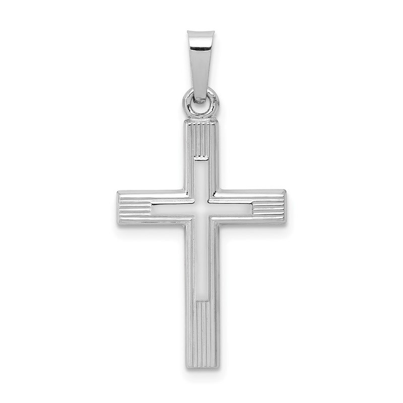 Quality Gold 14K White Gold Brushed and Polished Latin Cross Pendant