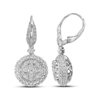 14kt White Gold Womens Round Diamond Circle Cluster Dangle Earrings 2-1/5 Cttw