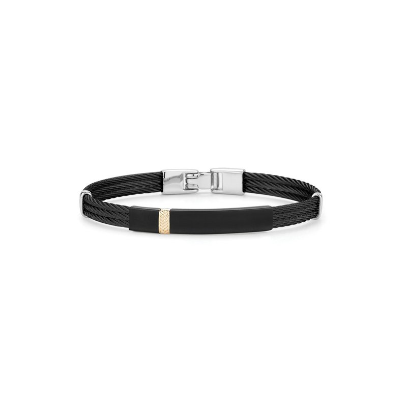 ALOR Black Cable Bracelet with Rectangular Steel Station & 18kt Yellow Gold Stripe