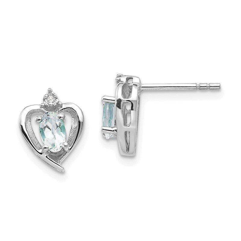 Quality Gold 14k White Gold Aquamarine and Diamond Heart Post Earrings