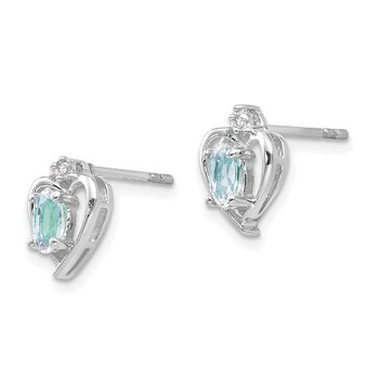 14k White Gold Aquamarine and Diamond Heart Post Earrings