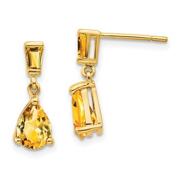 14k Gold Citrine Dangle Post Earrings