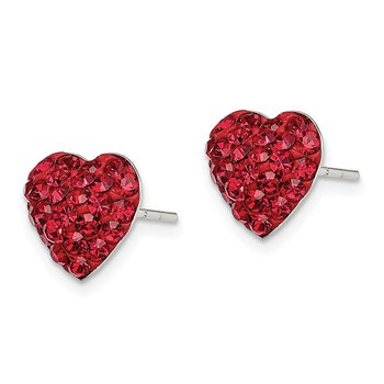 Sterling Silver Red Preciosa Crystal Heart Post Earrings