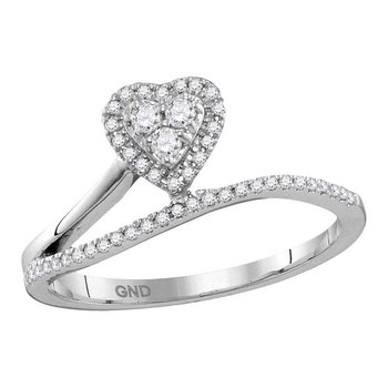 10kt White Gold Womens Round Diamond Slender Heart Band Ring 1/5 Cttw