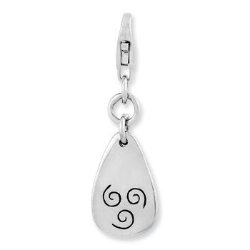 Sterling Silver Rhodium-plated Air Symbol w/Lobster Clasp Charm