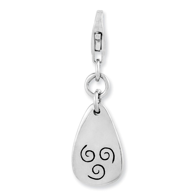 Quality Gold Sterling Silver Rhodium-plated Air Symbol w/Lobster Clasp Charm