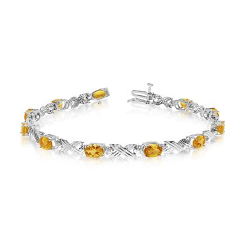 10K White Gold Oval Citrine and Diamond Bracelet