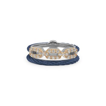 Blueberry Cable Layered Links Ring with 18kt Rose Gold & Diamonds